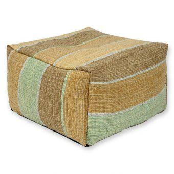 COTTON POUF 70x70x40 cm-BEIGE/GREEN